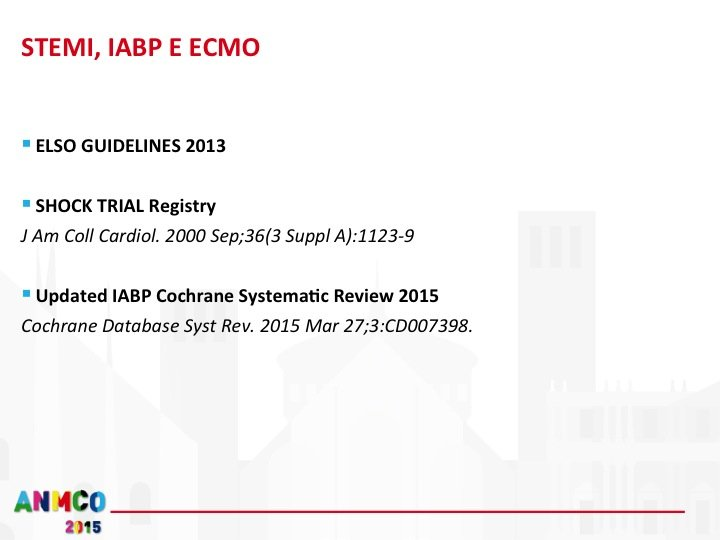 26.SHOCK TRIAL Registry: Treatment of patients in cardiogenic shock due to predominant LV failure with TT, IABP and revascularization by PTCA/CABG was associated with lower in-hospital mortality rates than standard medical therapy in this Registry. For hospitals without revascularization capability, a strategy of early TT and IABP followed by immediate transfer for PTCA or CABG may be appropriate. However, selection bias is evident and further investigation is required Updated IABP Cochrane Systematic Review 2015: Seven eligible studies were identified from a total of 2314 references. One new study with 600 patients was added to the original review. Four trials compared IABP to standard treatment and three to other percutaneous left assist devices (LVAD). Data from a total of 790 patients with acute myocardial infarction and cardiogenic shock were included in the updated meta-analysis: 406 patients were treated with IABP and 384 patients served as controls; 339 patients were treated without assisting devices and 45 patients with other LVAD. The HR for all-cause 30-day mortality of 0.95 (95% CI 0.76 to 1.19) provided no evidence for a survival benefit. Different non-fatal cardiovascular events were reported in five trials. During hospitalisation, 11 and 4 out of 364 patients from the intervention groups suffered from reinfarction or stroke, respectively. Altogether 5 out of 363 patients from the control group suffered from reinfarction or stroke. Reocclusion was treated with subsequent re-revascularization in 6 out of 352 patients from the intervention group and 13 out of 353 patients of the control group. The high incidence of complications such as moderate and severe bleeding or infection in the control groups has to be attributed to interventions with other LVAD. Possible reasons for bias were more frequent in small studies with high cross-over rates, early stopping and the inclusion of patients with IABP at randomisation. AUTHORS' CONCLUSIONS: Available evidence 