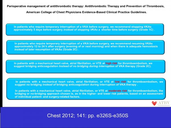 4. Le linee guida dell'American College of Chest Physicians sono aggiornate al 2012. Suggeriscono l'utilizzo della bridging therapy in tutti i pazienti che necessitano l'interruzione temporanea della terapia anticoagulante nel periodo operatorio. Le linee guida dividono i pazienti in classe di rischio, basso, moderato ed elevato.