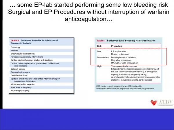 15. In molti ospedali e in molte cardiologie, in occasione di procedure considerate a basso rischio di complicanze emorragiche, la terapia anticoagulante con inibitori della Vitamina K è stata mantenuta anche nel periodo perioperatorio.