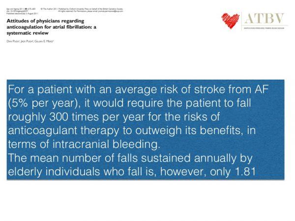 6. Tuttavia è stato calcolato che per perdere il beneficio associato all'anticoagulazione orale nella FANV un paziente dovrebbe cadere circa trecento volte all'anno (quasi una volta al giorno).