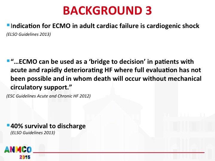 """4. Lo shock cardiogeno refrattario secondario a STEMI rientra in quelle situazioni potenzialmente reversibili in cui l'utilizzo di sistemi di supporto meccanico del circolo sono indicati con un discreto livello di evidenza, costituendo un vero e proprio """"ponte"""" verso il recupero funzionale oppure verso soluzioni alternative laddove il rapido deterioramento della funzione cardiocircolatoria avrebbe conseguenze fatali, l'utilizzo di dispositivi come l'ECMO veno-arterioso consente un tasso di sopravvivenza stimato tra il 30 e il 50%. MCS mechanical circulatory support"""