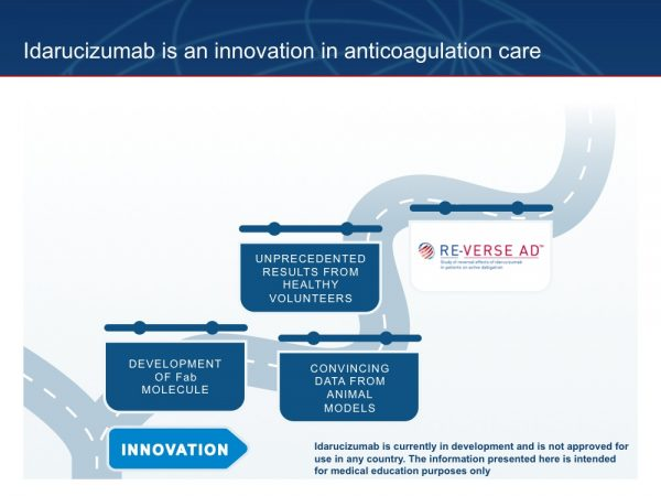 23. Building on the positive results with idarucizumab seen in the preclinical and human volunteer studies, idarucizumab is being investigated in RE-VERSE AD™, the first patient study of a NOAC-specific reversal agent.